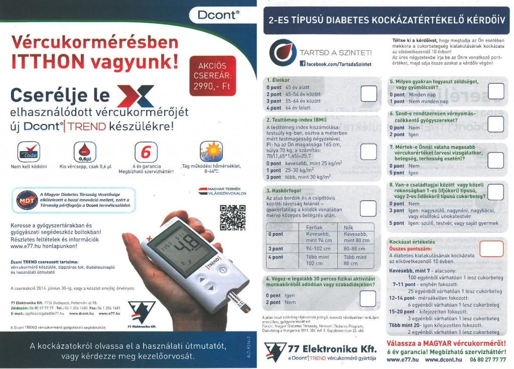 2-es típusú Diabetes kockázatértékelő kérdőív